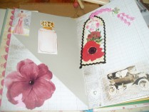 pocket page have a postcard planned for this pocket posting more on this later.. and the flower tag flips with more fun images and a butterfly charm
